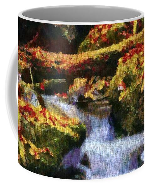 Autumn Waterfall Canvas Coffee Mug featuring the mixed media Autumn Waterfall Canvas by Dan Sproul