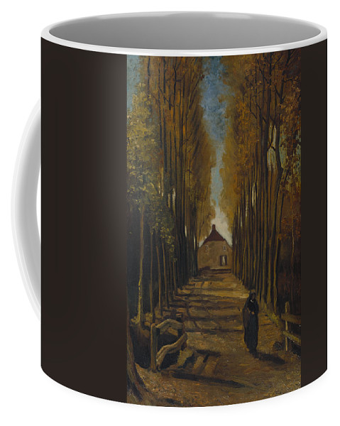 Vincent Van Gogh Coffee Mug featuring the painting Avenue Of Poplars In Autumn by Vincent Van Gogh