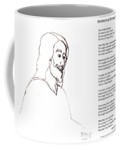 Christ Coffee Mug featuring the digital art Awakening Divine Self Worth Sketch Of Jesus 2 by Dawna Morton
