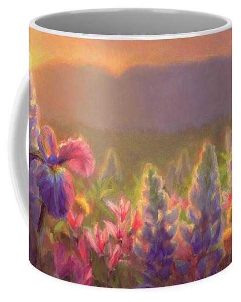 Spring Coffee Mug featuring the painting Awakening - Mt Susitna Spring - Sleeping Lady by Karen Whitworth