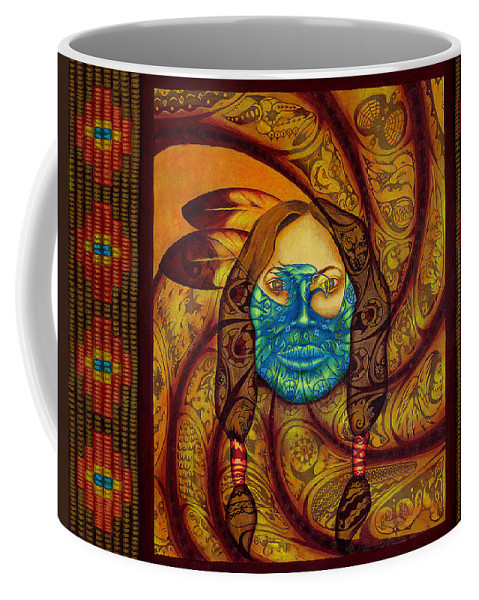 Native American Coffee Mug featuring the painting Awakenings by Kevin Chasing Wolf Hutchins