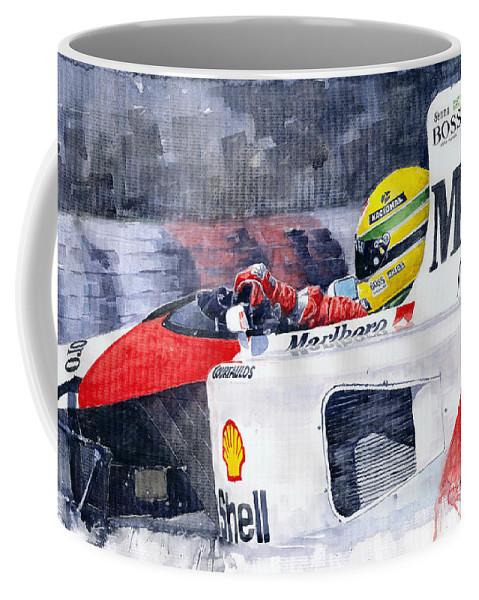 Watercolor Coffee Mug featuring the painting Ayrton Senna Mclaren 1991 Hungarian Gp by Yuriy Shevchuk