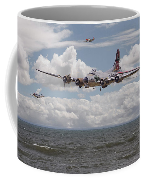 Aircraft Coffee Mug featuring the digital art B17 The Hardest Mile by Pat Speirs