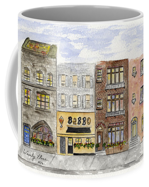 Waverly Place Coffee Mug featuring the painting Babbo @ Waverly Place by AFineLyne