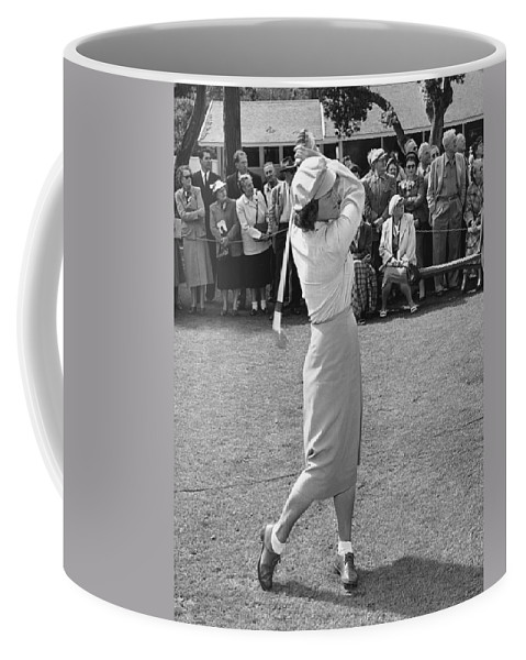 1951 Coffee Mug featuring the photograph Babe Didrikson Teeing Off by Julian Graham