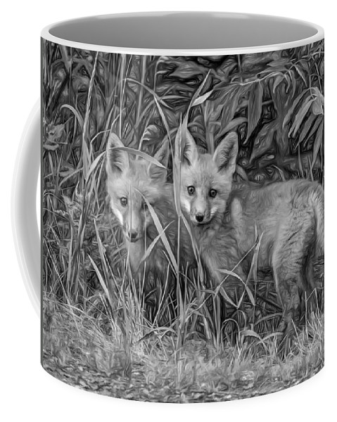 Wildlife Coffee Mug featuring the photograph Babes In The Woods 2 - Paint Bw by Steve Harrington