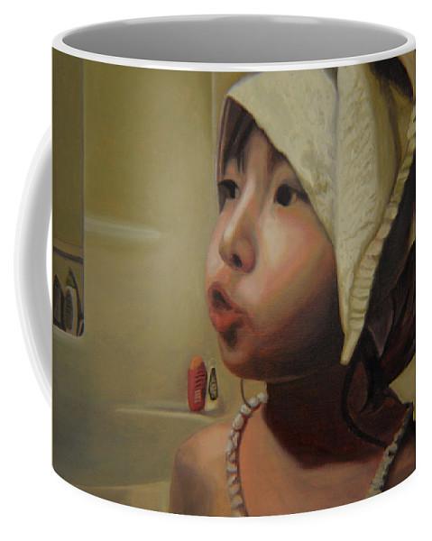 Figure Coffee Mug featuring the painting Baby Bath Mama by Thu Nguyen