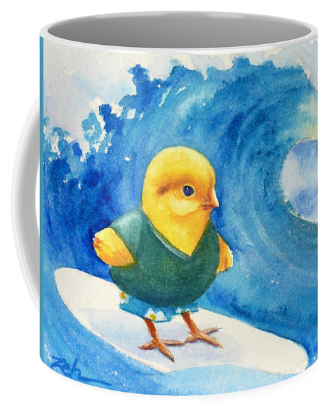 Baby Chick Surfing Coffee Mug featuring the painting Baby Chick Surfing by Janet Zeh