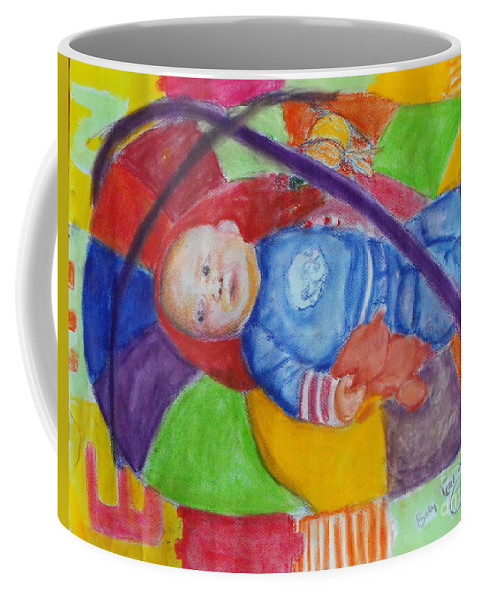 Baby Portrait Coffee Mug featuring the mixed media Baby Ted In Motion Portrait by Caroline Cunningham