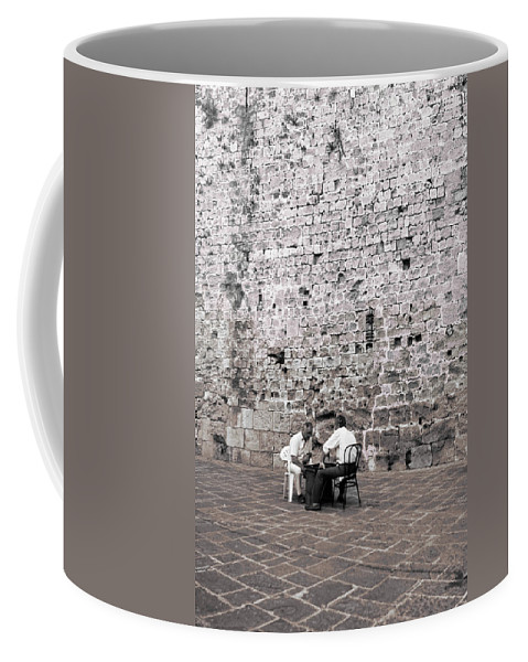 The Island Of Rhodes Coffee Mug featuring the photograph Backgammon At The Ancient Wall by Lorraine Devon Wilke