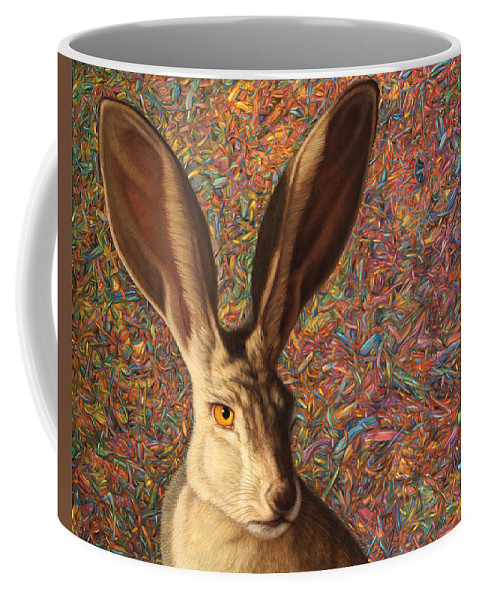 Rabbit Coffee Mug featuring the painting Background Noise by James W Johnson
