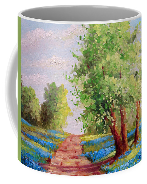 Bluebonnets Coffee Mug featuring the painting Backroad Bluebonnets by David G Paul