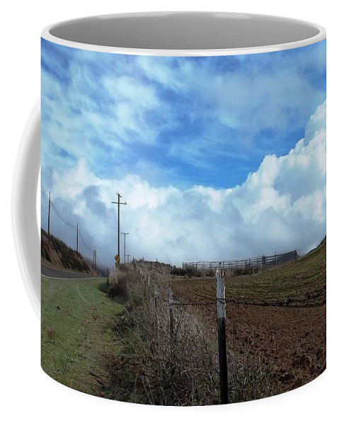Billowing Clouds Coffee Mug featuring the photograph Backroads- Telephone Poles- And Barbed Wire Fences by Glenn McCarthy Art and Photography