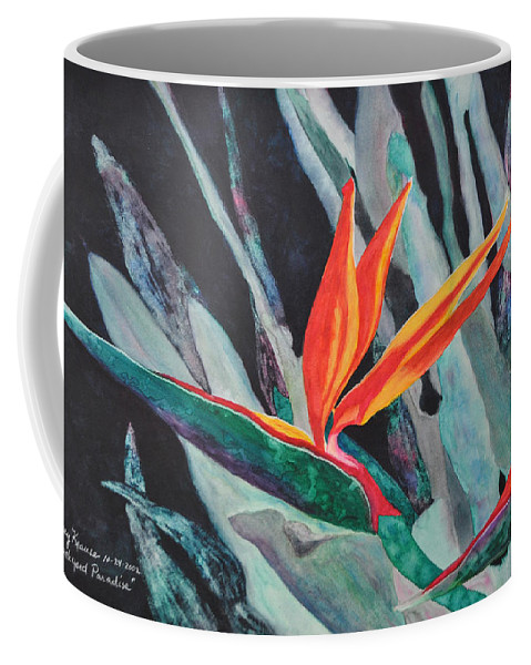 Birds Of Paradise Coffee Mug featuring the painting Backyard Paradise by Mickey Krause