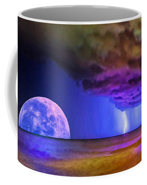Moon Coffee Mug featuring the painting Bad Moon Rising by Dominic Piperata