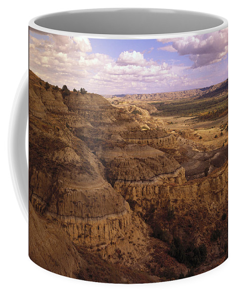 00173672 Coffee Mug featuring the photograph Badlands In Theodore Roosevelt National by Tim Fitzharris