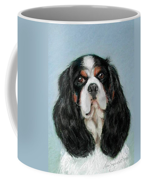 Cavalier King Charles Spaniel Coffee Mug featuring the pastel Bailey The Cavalier King Charles Spaniel by Lenore Gaudet