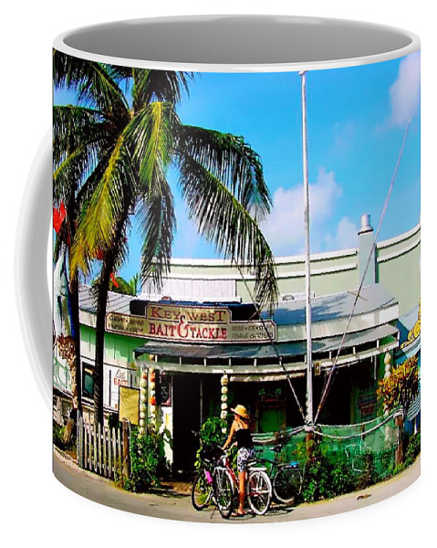 Key West Painting Coffee Mug featuring the painting Bait And Tackle Key West by Iconic Images Art Gallery David Pucciarelli