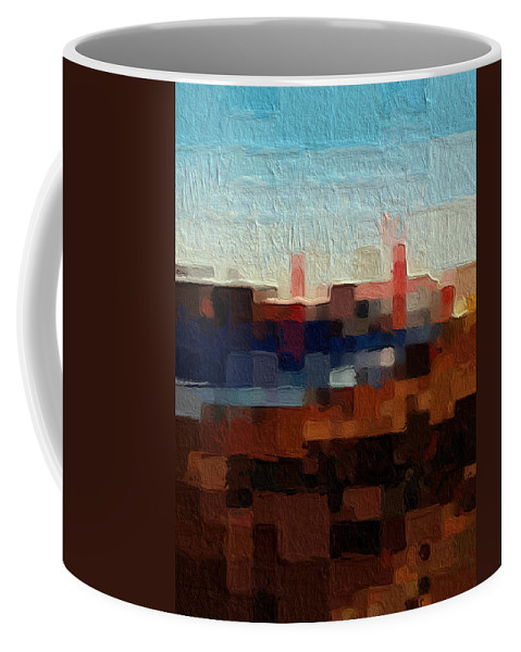Abstract Art Coffee Mug featuring the painting Baker Beach by Linda Woods