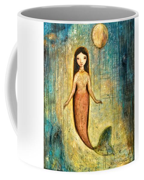 Mermaid Art Coffee Mug featuring the painting Balance by Shijun Munns