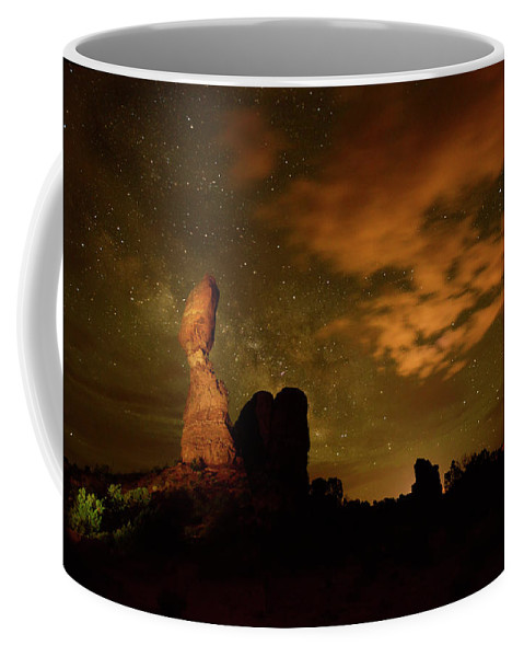 Color Image Coffee Mug featuring the photograph Balanced Rock And The Milky Way by Raul Touzon
