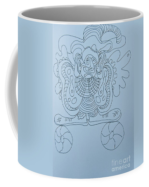 Doodle Coffee Mug featuring the painting Balancing Clown - Doodle by James Lavott