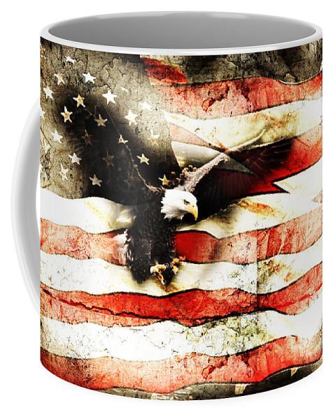 Memorial Day Coffee Mug featuring the photograph Bald Eagle Bursting Thru Flag by Eleanor Abramson