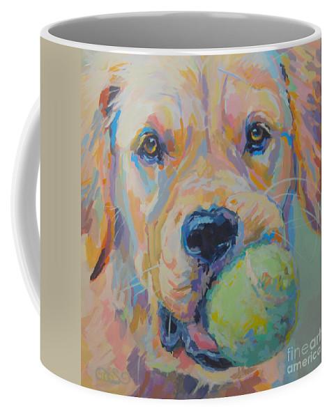 Golden Retriever Coffee Mug featuring the painting Ball by Kimberly Santini