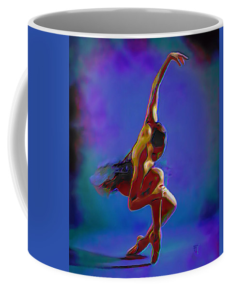 Art Coffee Mug featuring the painting Ballerina On Point by Fli Art