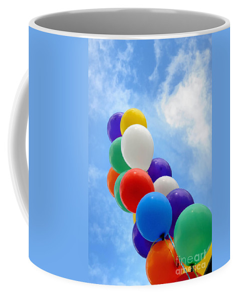 Balloon Coffee Mug featuring the photograph Balloons Against A Cloudy Sky by Amy Cicconi