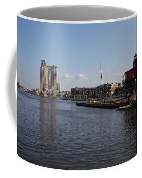 Harbor Coffee Mug featuring the photograph Baltimore Harbor With Seven Foot Knoll Light by Christiane Schulze Art And Photography