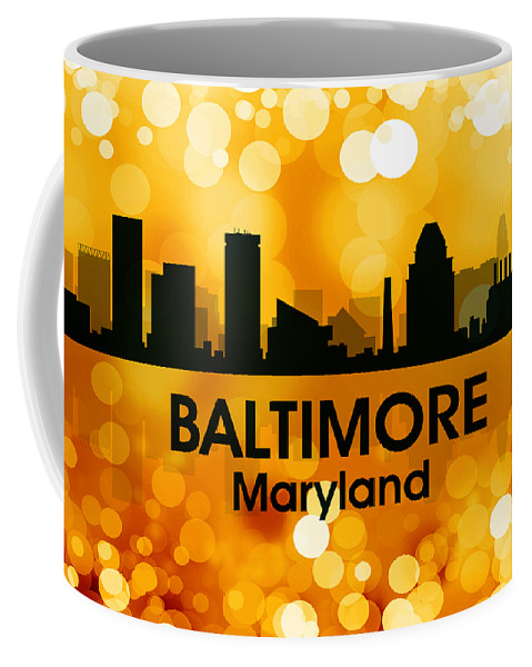 City Silhouette Coffee Mug featuring the digital art Baltimore Md 3 by Angelina Tamez