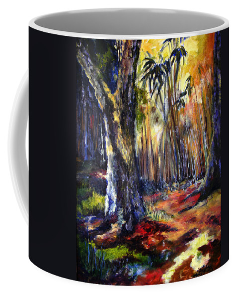 Colorful Coffee Mug featuring the painting Bamboo Garden With Bunny by Julianne Felton