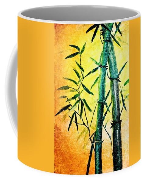 Art Coffee Mug featuring the painting Bamboo Magic by Nirdesha Munasinghe