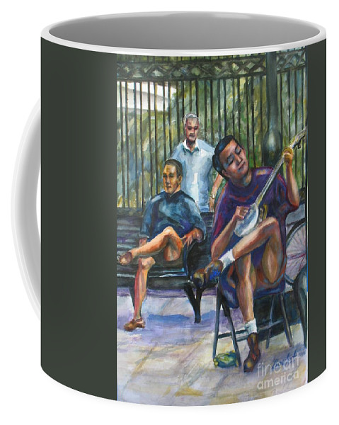 Musician Coffee Mug featuring the painting Banjo by Beverly Boulet
