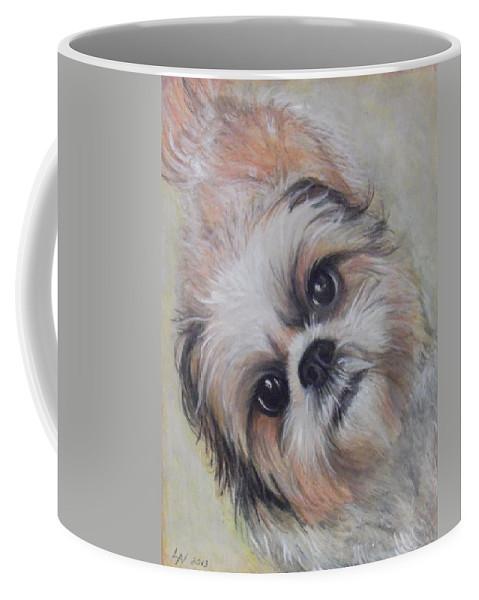 Dog Coffee Mug featuring the drawing Banjo by Linda Nielsen