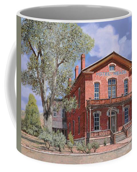 Montana Coffee Mug featuring the painting Bannock-montana-hotel Meade by Guido Borelli
