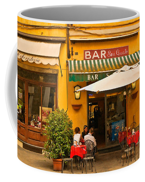Lucca Coffee Mug featuring the digital art Bar San Giusto by Mick Burkey