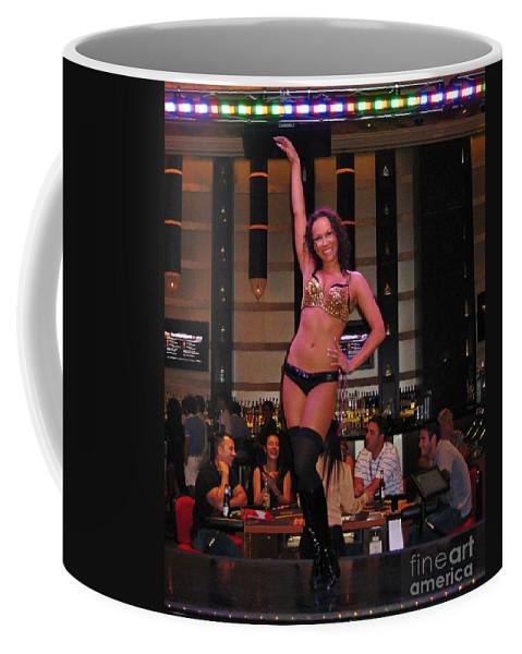Bar Top Dancer In Las Vegas Coffee Mug featuring the painting Bar Top Dancer In Las Vegas by John Malone