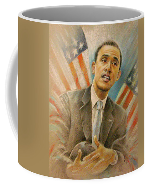 Barack Obama Portrait Coffee Mug featuring the painting Barack Obama Taking It Easy by Miki De Goodaboom
