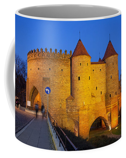 Warsaw Coffee Mug featuring the photograph Barbican At Night In The Old Town Of Warsaw by Artur Bogacki