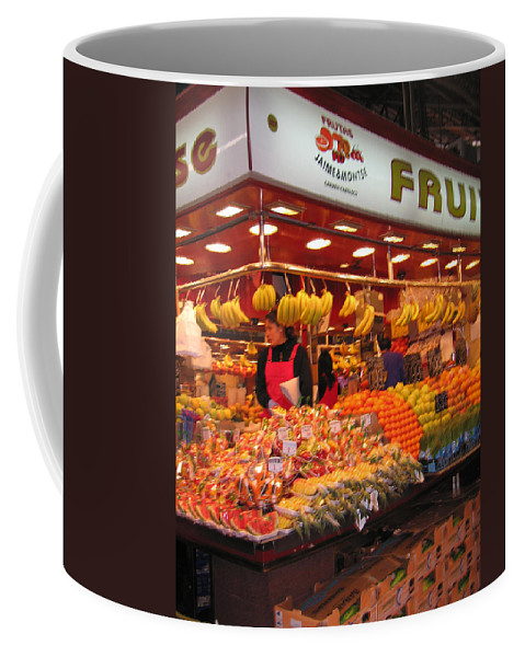 Fruits Coffee Mug featuring the photograph Barcelona Food Court by Jay Milo