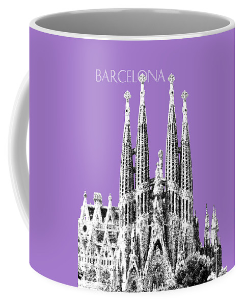 Architecture Coffee Mug featuring the digital art Barcelona Skyline La Sagrada Familia - Violet by DB Artist