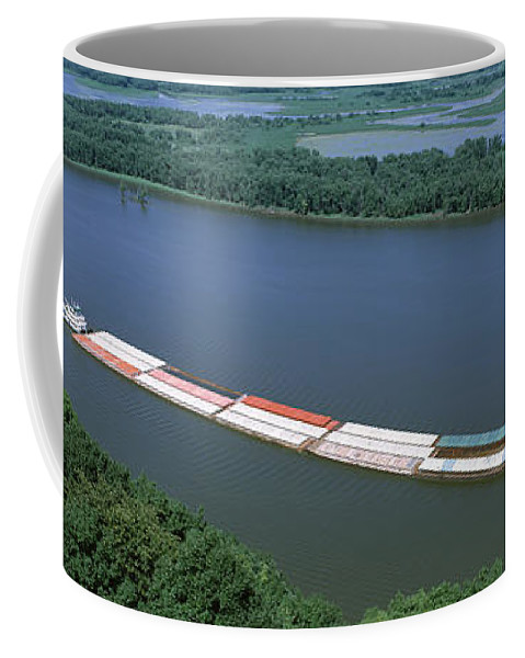 Photography Coffee Mug featuring the photograph Barge In A River, Mississippi River by Panoramic Images