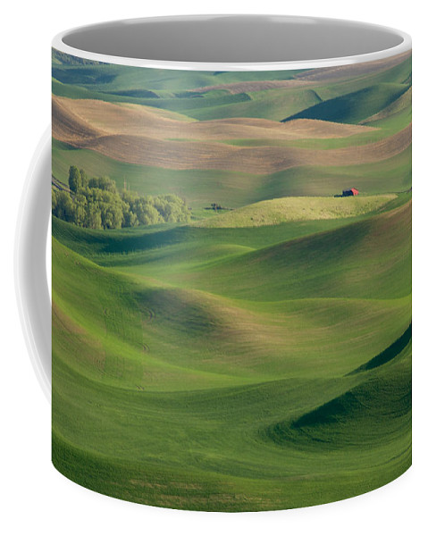 Palouse Coffee Mug featuring the photograph Barn Among The Contours by Mary Lee Dereske