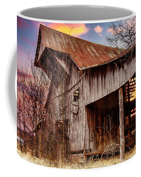 Barn Coffee Mug featuring the photograph Barn At Sunset by Brett Engle
