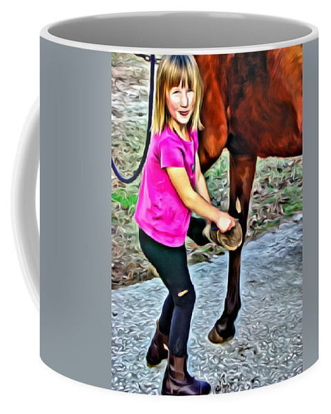 Horse Girl Grooming Hoof Coffee Mug featuring the photograph Barn Girl by Alice Gipson