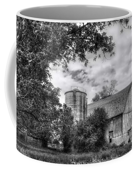 Barn Coffee Mug featuring the photograph Barn In Black And White by Margie Hurwich
