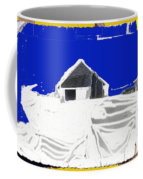 Barn Snow Storm Rc Guss Photo 1951 Collage St. Paul Park Minnesota Color Drawing Added Coffee Mug featuring the photograph Barn Snow Storm Rc Guss Photo 1951 Collage St. Paul Park Minnesota Color Drawing Added by David Lee Guss