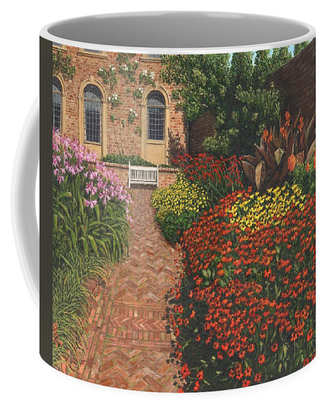 Landscape Coffee Mug featuring the painting Barrington Court Gardens Somerset by Richard Harpum